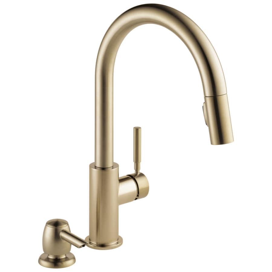 Delta Trask Champagne Bronze 1 Handle Deck Mount Pull Down Kitchen Faucet