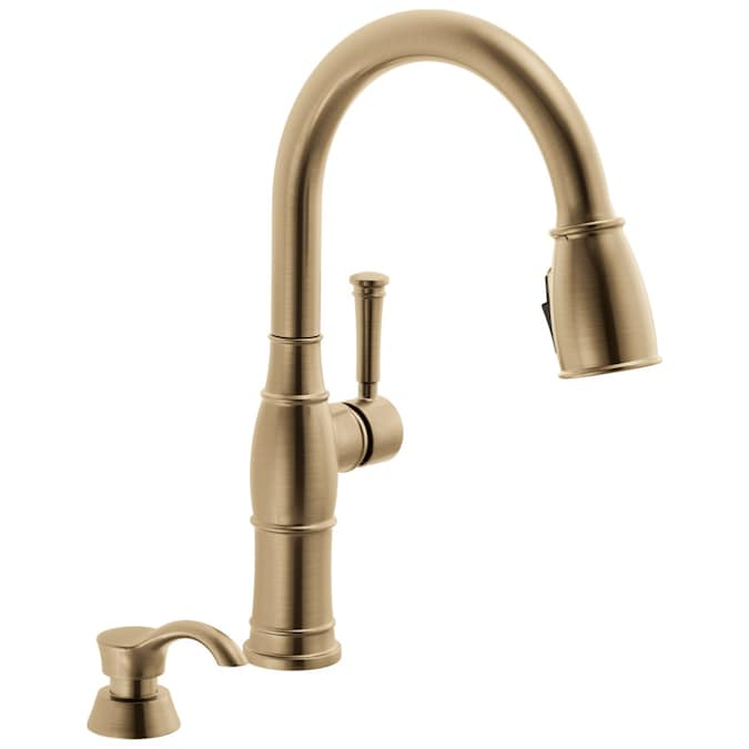 Delta Valdosta Champagne Bronze 1 Handle Deck Mount Pull Down Handle Kitchen Faucet Deck Plate Included In The Kitchen Faucets Department At Lowes Com