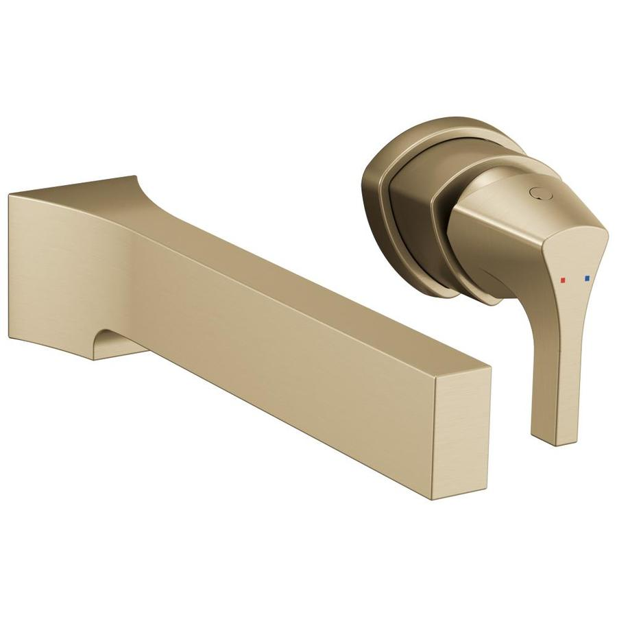 Gentil Delta Zura Champagne Bronze 1 Handle Wall Mount WaterSense Bathroom Sink  Faucet