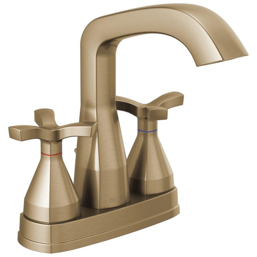 Champagne Bathroom Sink: Delta Stryke Champagne Bronze 1-handle 4-in Centerset
