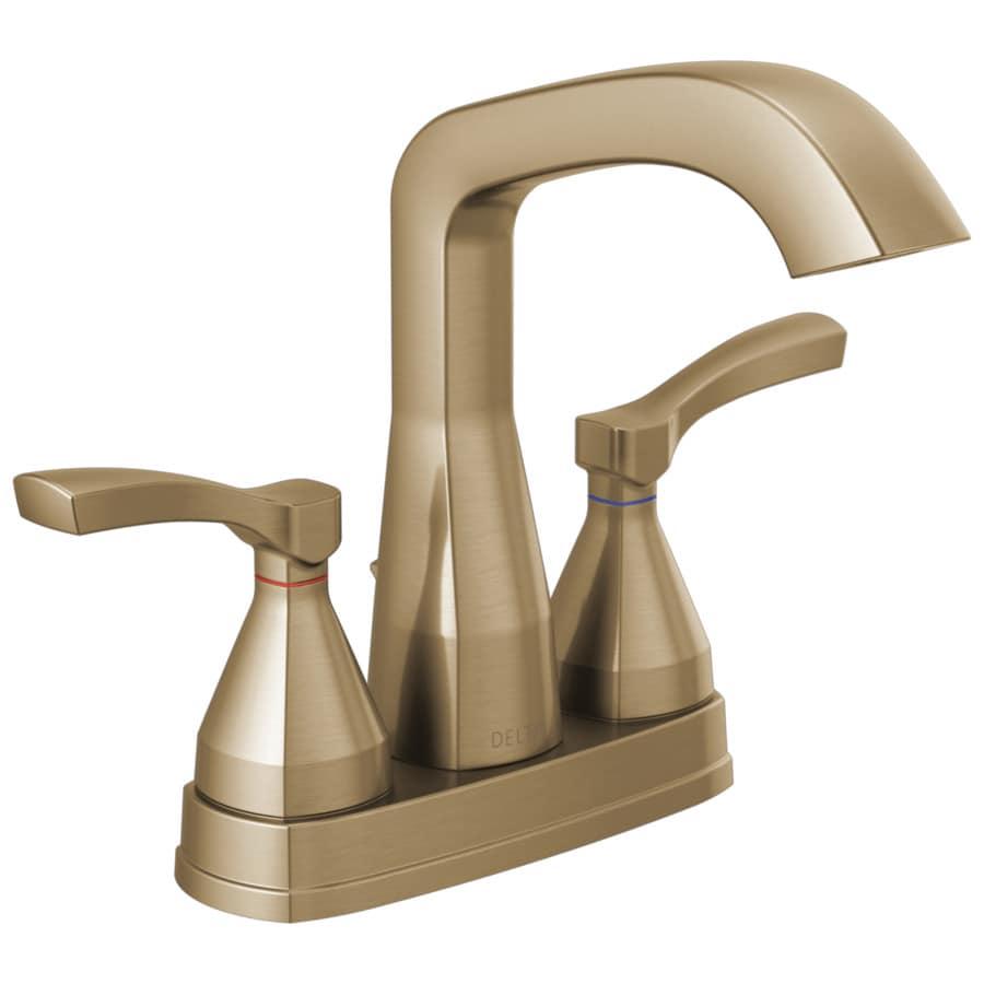 Champagne Bathroom Sink: Delta Stryke Champagne Bronze 2-Handle 4-in Centerset