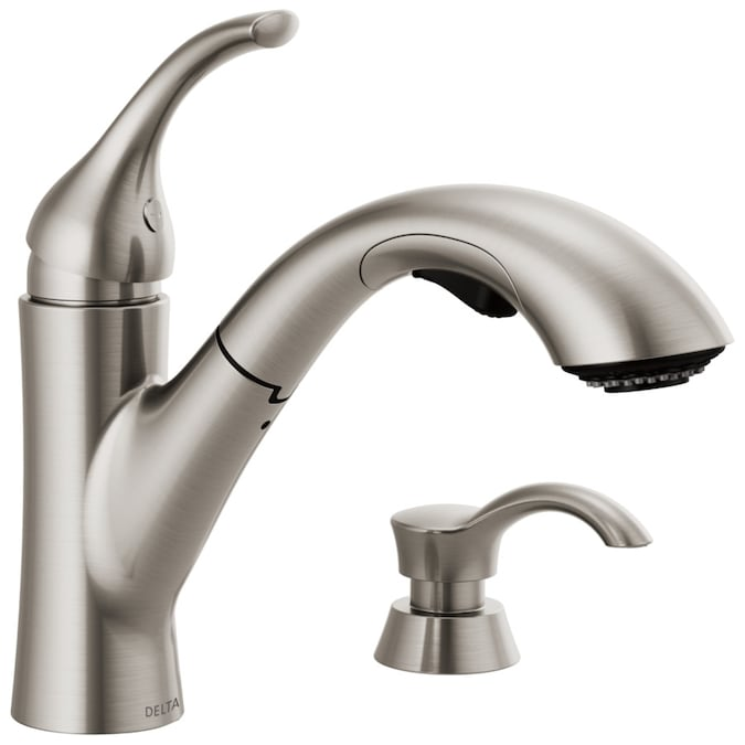 Delta Kessler Stainless 1 Handle Deck Mount Pull Out Handle Kitchen Faucet Deck Plate Included In The Kitchen Faucets Department At Lowes Com