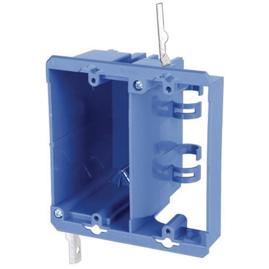 CARLON 2-Gang Blue Plastic Interior New Work/Old Work Standard Switch/Outlet Wall Electrical Box