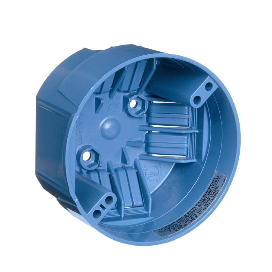 CARLON 1-Gang Blue Plastic Interior New Work Standard Round Ceiling Electrical Box