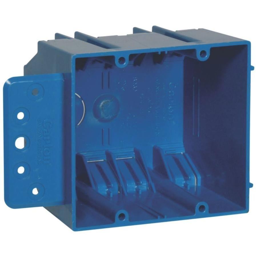 CARLON 2-Gang Blue Plastic Interior New Work Standard Switch/Outlet Wall Electrical Box