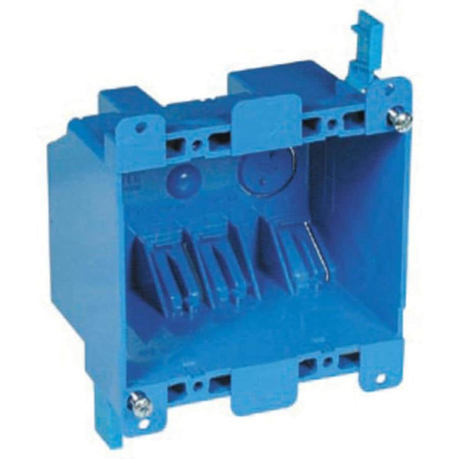 Carlon 2 Gang Blue Plastic Interior Old Work Standard Switch Outlet Wiring 4 Receptacle Box Wall Electrical
