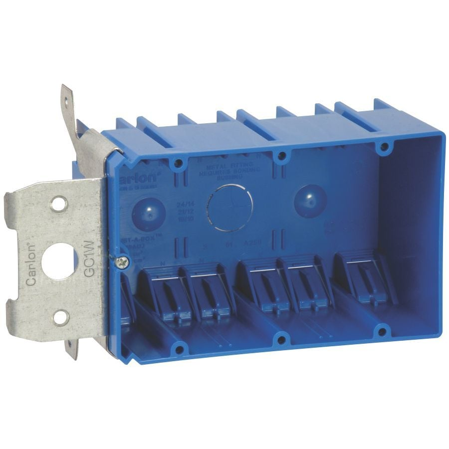 CARLON 3-Gang Blue Plastic Interior New Work/Old Work Standard Adjustable Wall Electrical Box