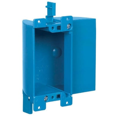 1 Gang Blue Plastic Interior Old Work Shallow Rectangular Electrical Box