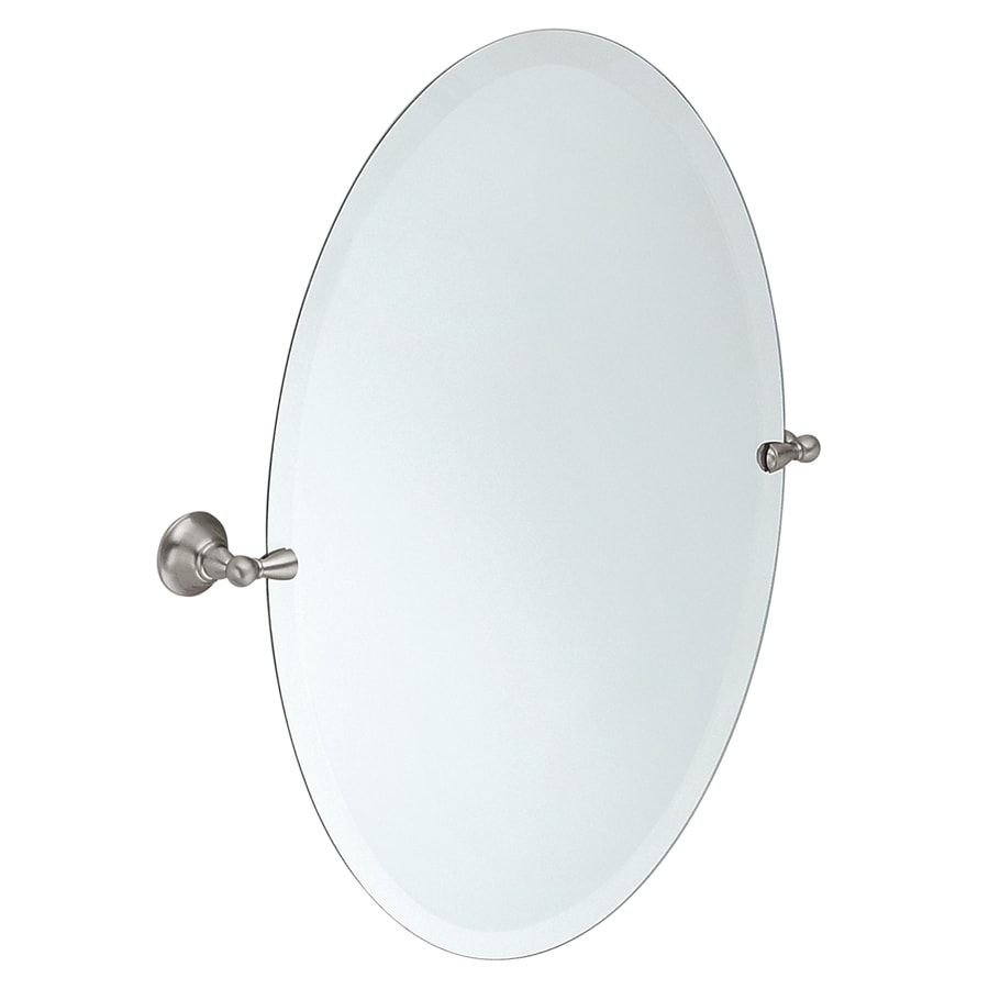Moen Sage 22.79-in W x 26-in H Oval Tilting Frameless Bathroom Mirror with Edges
