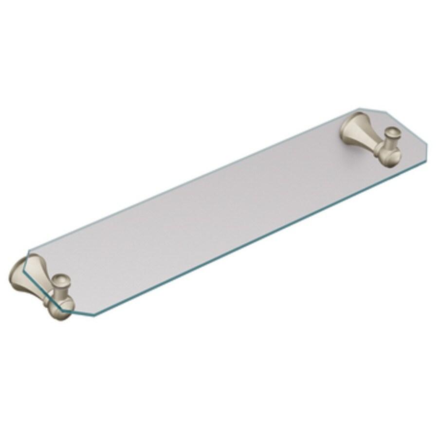 Moen Vestige 22-in x 5.23-in 1 Brushed Nickel Glass Bathroom Shelf