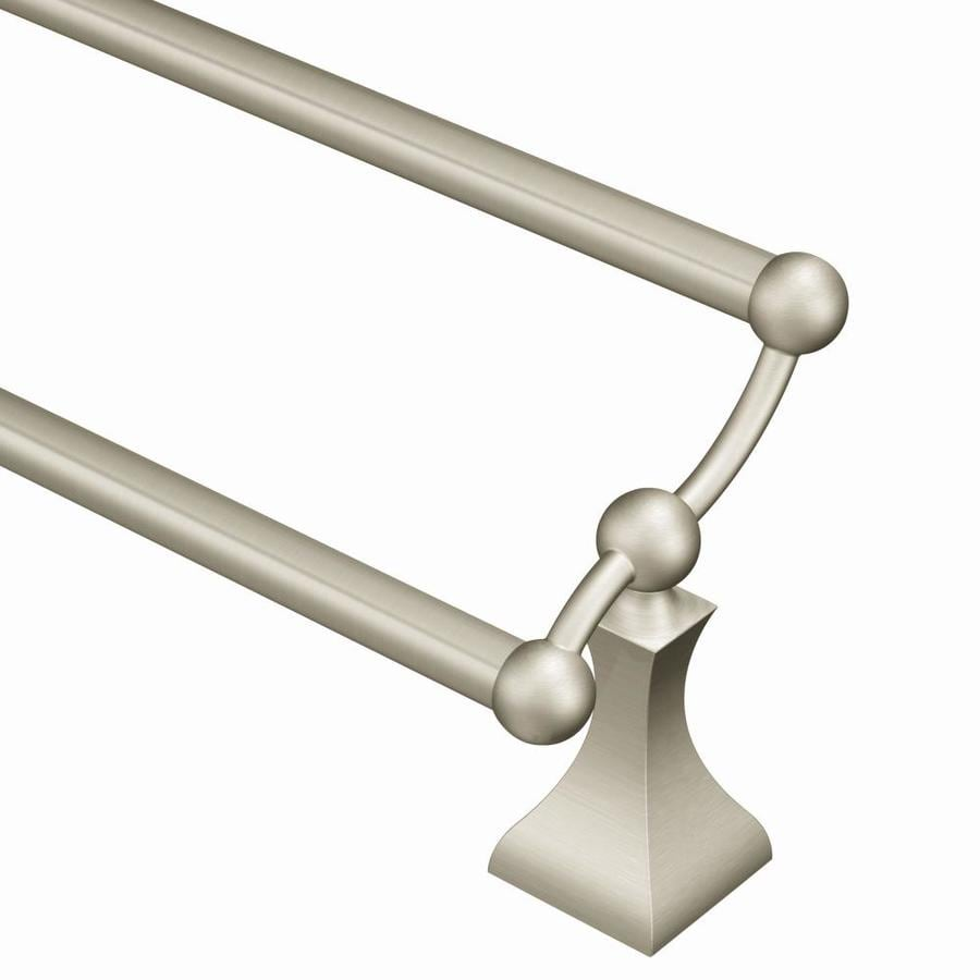 Charming Moen Retreat Spot Resist Brushed Nickel Double Towel Bar (Common: 24 In;