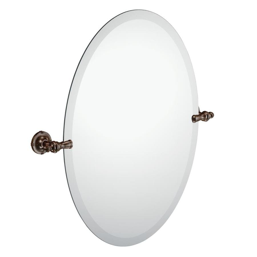 Moen Gilcrest 26-in H x 21.26-in W Oval Tilting Frameless Bathroom Mirror with Oil Rubbed Bronze Hardware and Beveled Edges