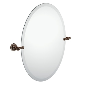 Moen Gilcrest 21.26-in Oil Rubbed Bronze Oval Frameless Bathroom Mirror
