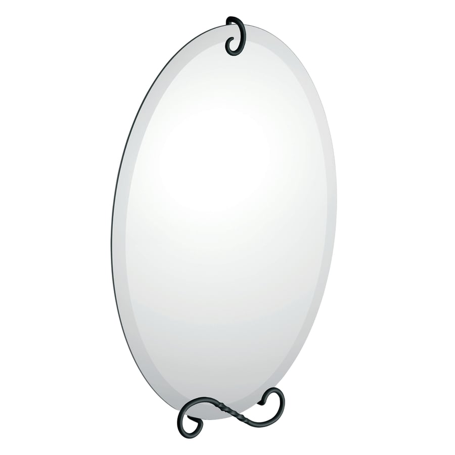Moen Sienna 19-in W x 27.63-in H Oval Frameless Bathroom Mirror with Matte Black Hardware and Beveled Edges
