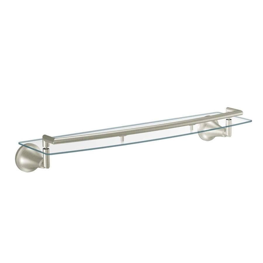Shop Moen Icon Brushed nickel Glass Bathroom Shelf at Lowes.com