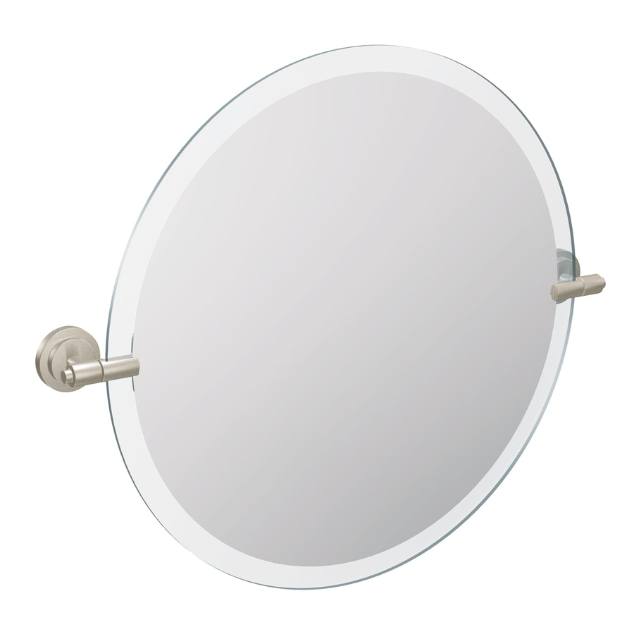 Shop moen moen iso 22 in brushed nickel round bathroom mirror at for Bathroom mirrors brushed nickel