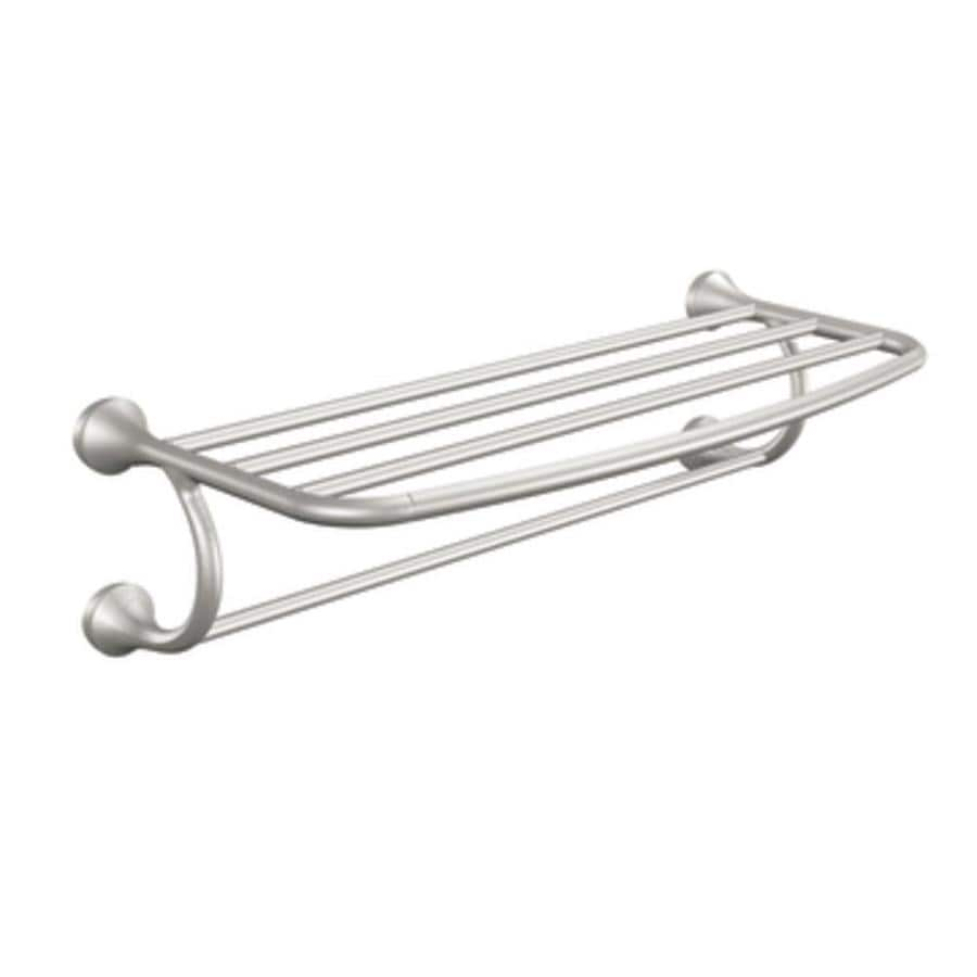 moen eva brushed nickel rack towel bar common 24in actual