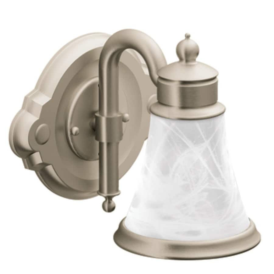 Shop Moen Waterhill 1 Light 8 9 In Brushed Nickel Globe Vanity Light At Lowes