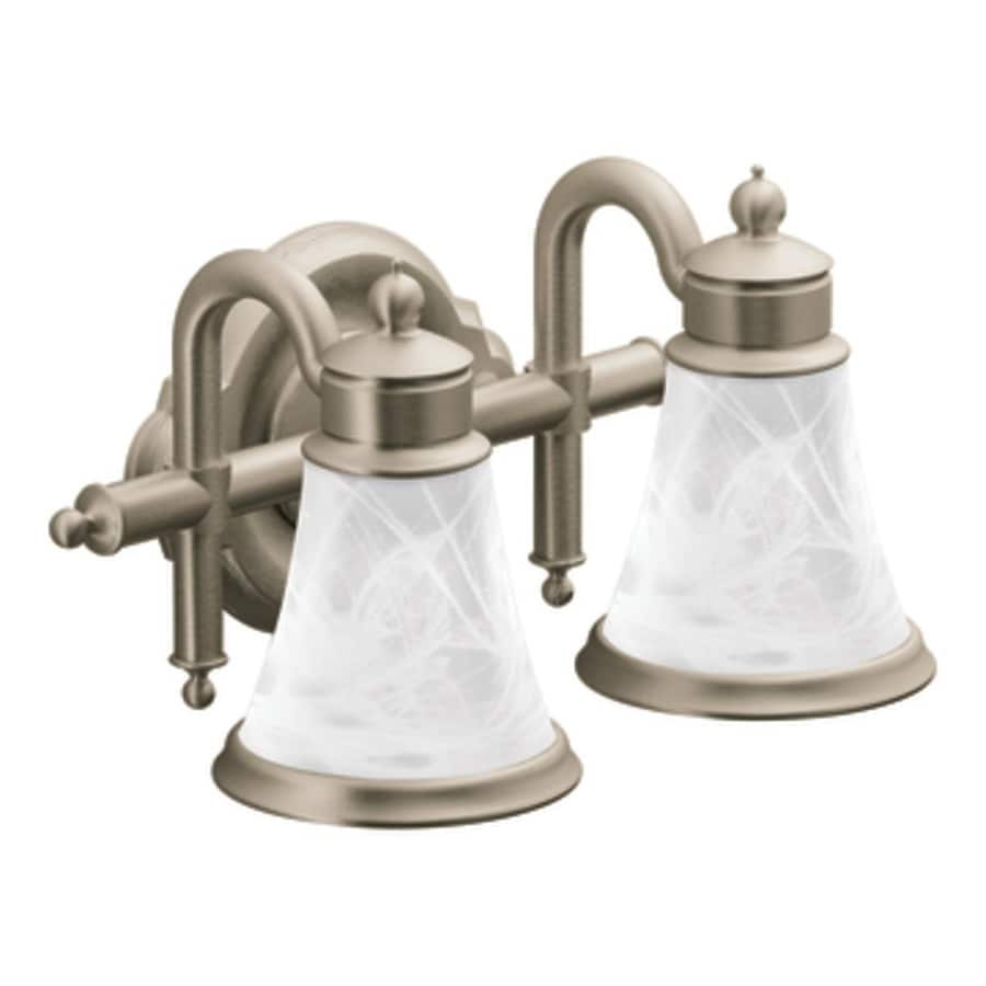 Moen Brushed Nickel Vanity Lights : Shop Moen Waterhill 2-Light 8.3-in Brushed Nickel Globe Vanity Light at Lowes.com