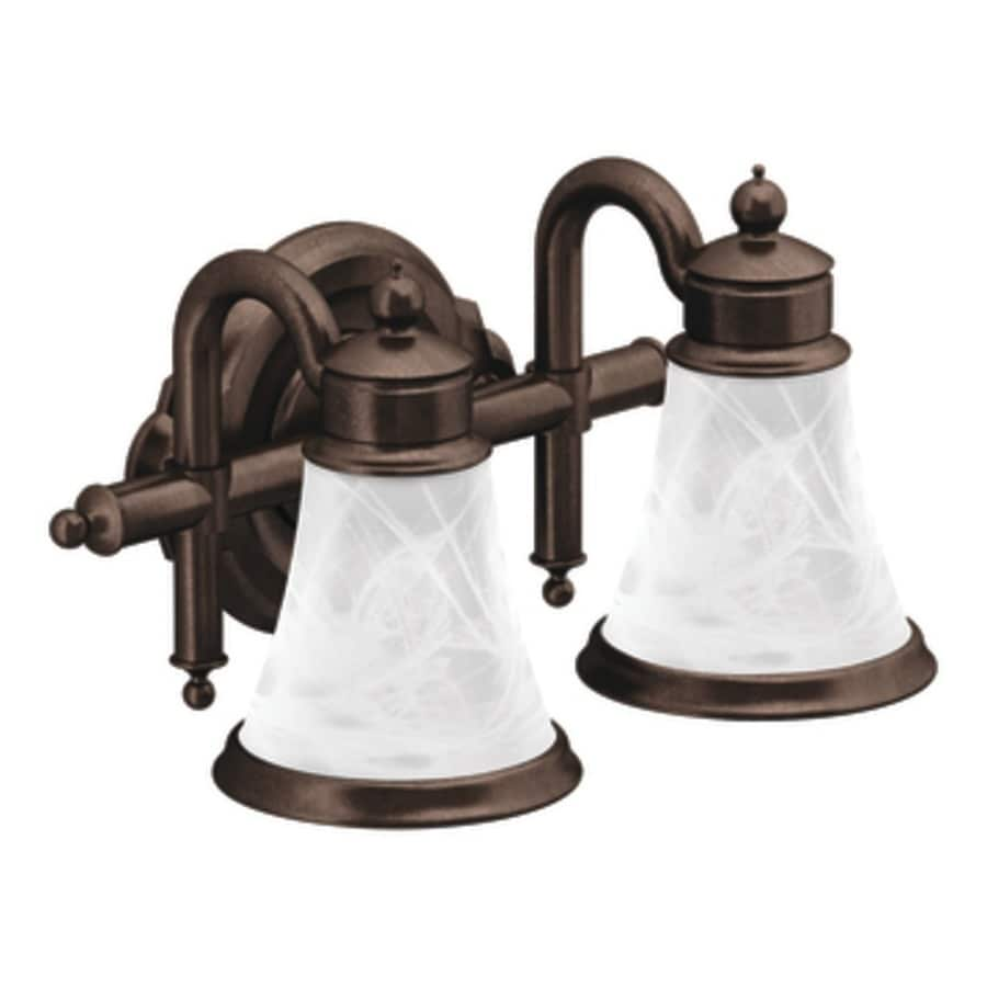 Shop Moen Waterhill 2-Light 8.3-in Oil-Rubbed Bronze Globe Vanity Light at Lowes.com