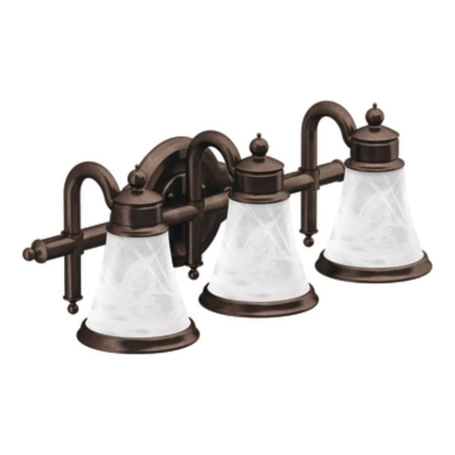 Bathroom Vanity Lights In Bronze shop moen waterhill 3-light 8.3-in oil-rubbed bronze globe vanity