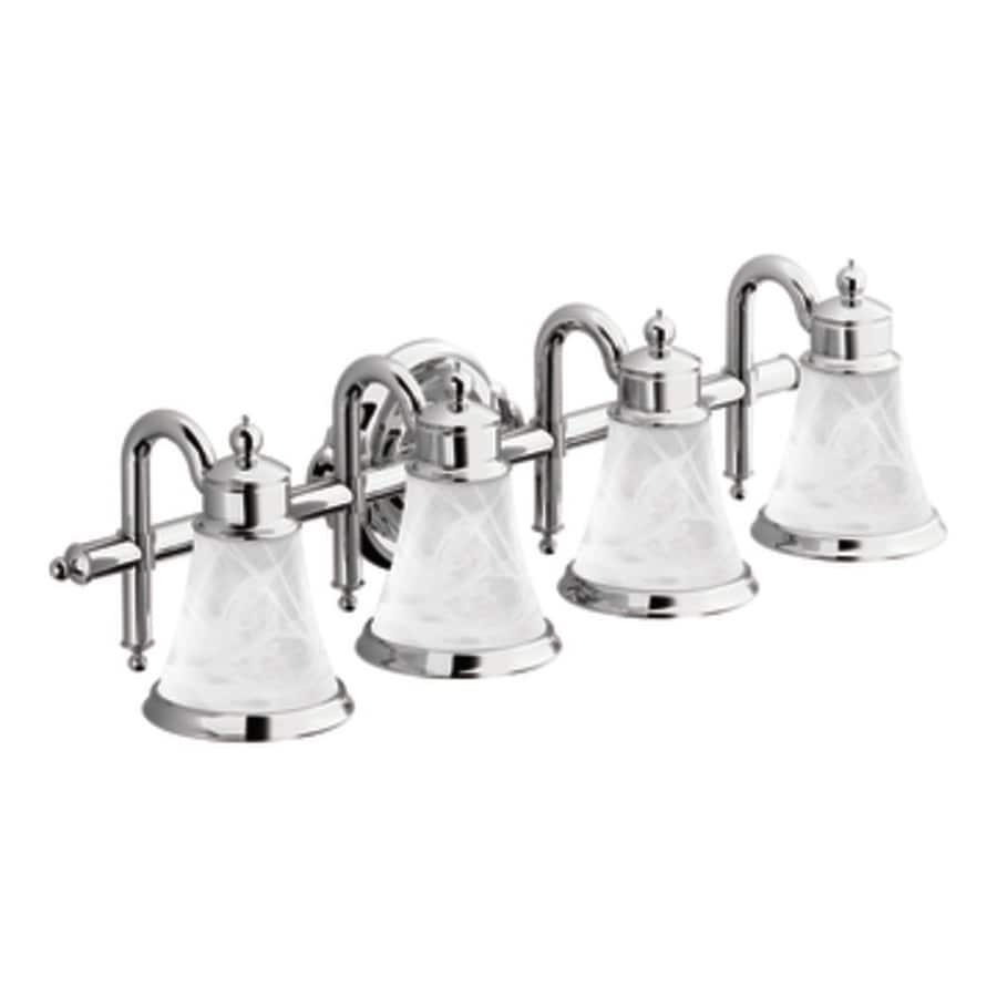Moen Waterhill 4-Light 8.3-in Chrome Globe Standard Vanity Light