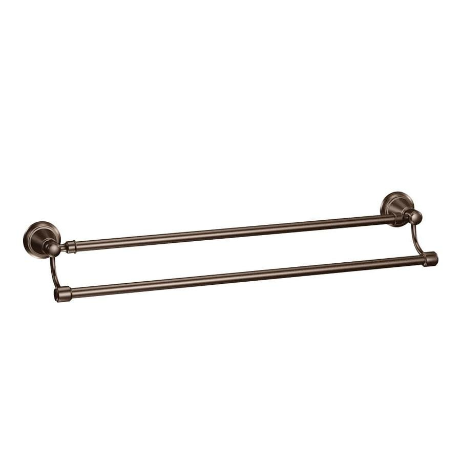 moen bradshaw oilrubbed bronze double towel bar common 24in - Double Towel Bar