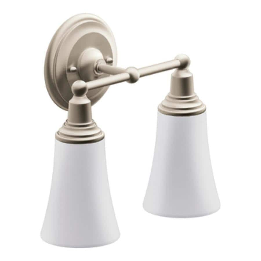 Moen Brushed Nickel Vanity Lights : Shop Moen Rothbury 2-Light 10.5-in Brushed Nickel Globe Vanity Light at Lowes.com