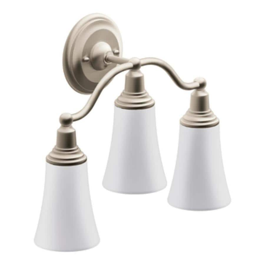 Moen Brushed Nickel Vanity Lights : Shop Moen Rothbury 3-Light 12.97-in Brushed Nickel Globe Vanity Light at Lowes.com