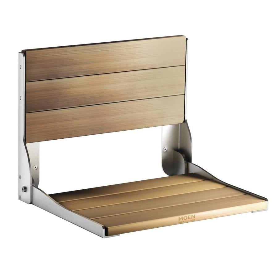 Moen Home Care Stainless Steel Teak Wall Mount Shower Seat