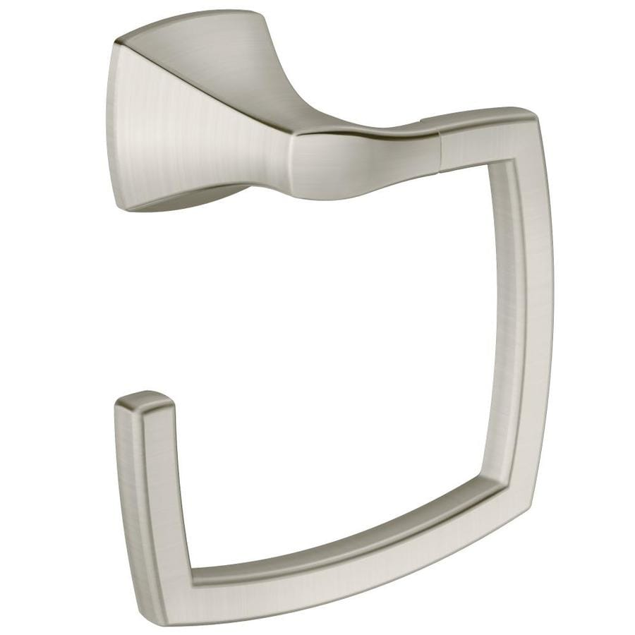 Shop moen voss brushed nickel wall mount towel ring at for Bathroom accessories location