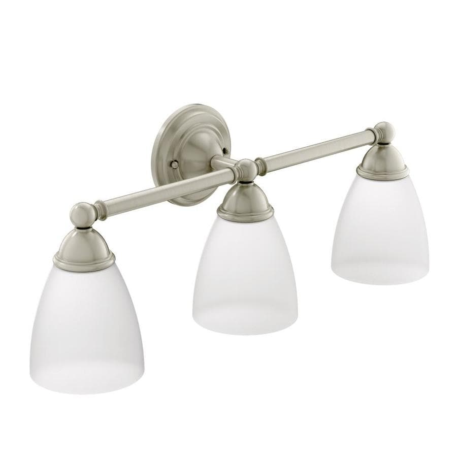Shop moen brantford 3 light brushed nickel vanity light at for Brushed nickel bathroom lighting fixtures
