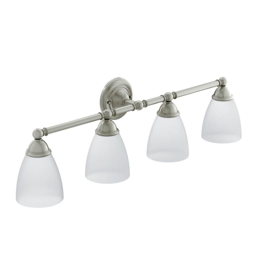 Moen Brushed Nickel Vanity Lights : Shop Moen Brantford 4-Light 10.19-in Brushed Nickel Globe Vanity Light at Lowes.com
