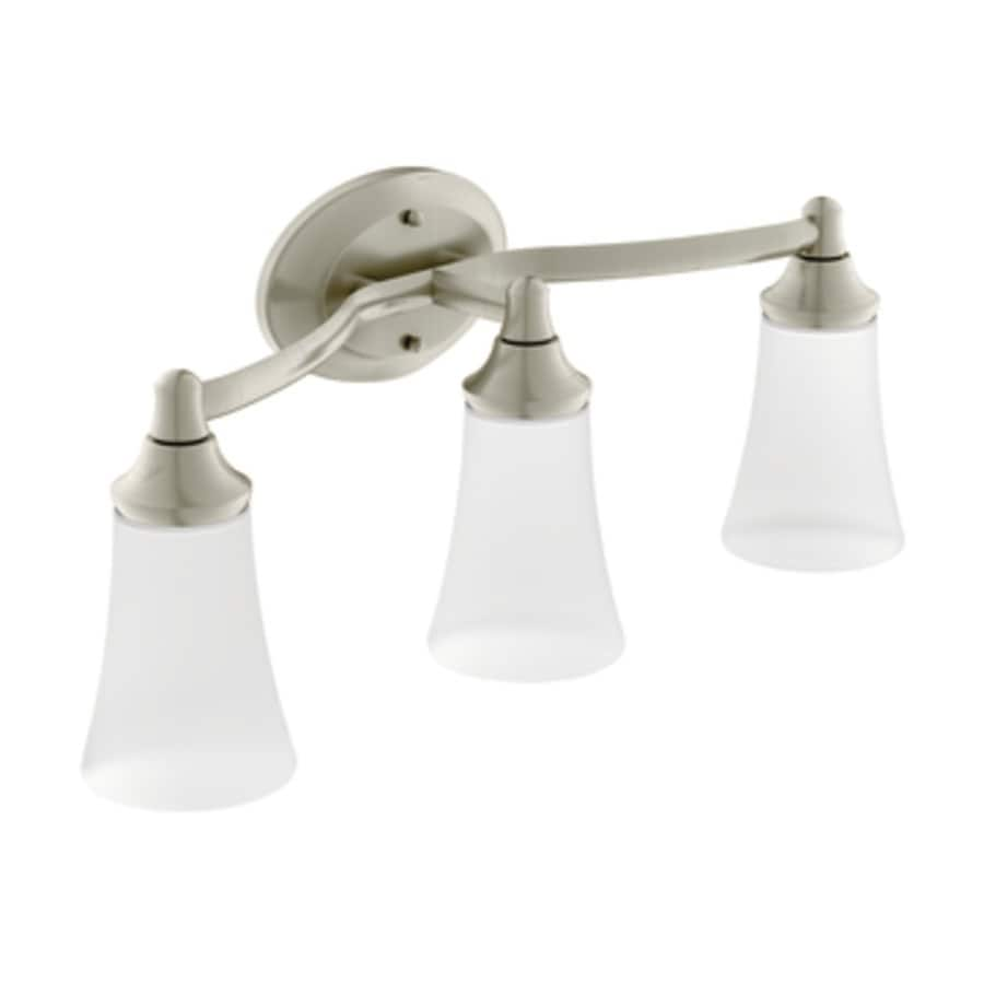 Moen Brushed Nickel Vanity Lights : Shop Moen Eva 3-Light 9.57-in Brushed Nickel Globe Vanity Light at Lowes.com