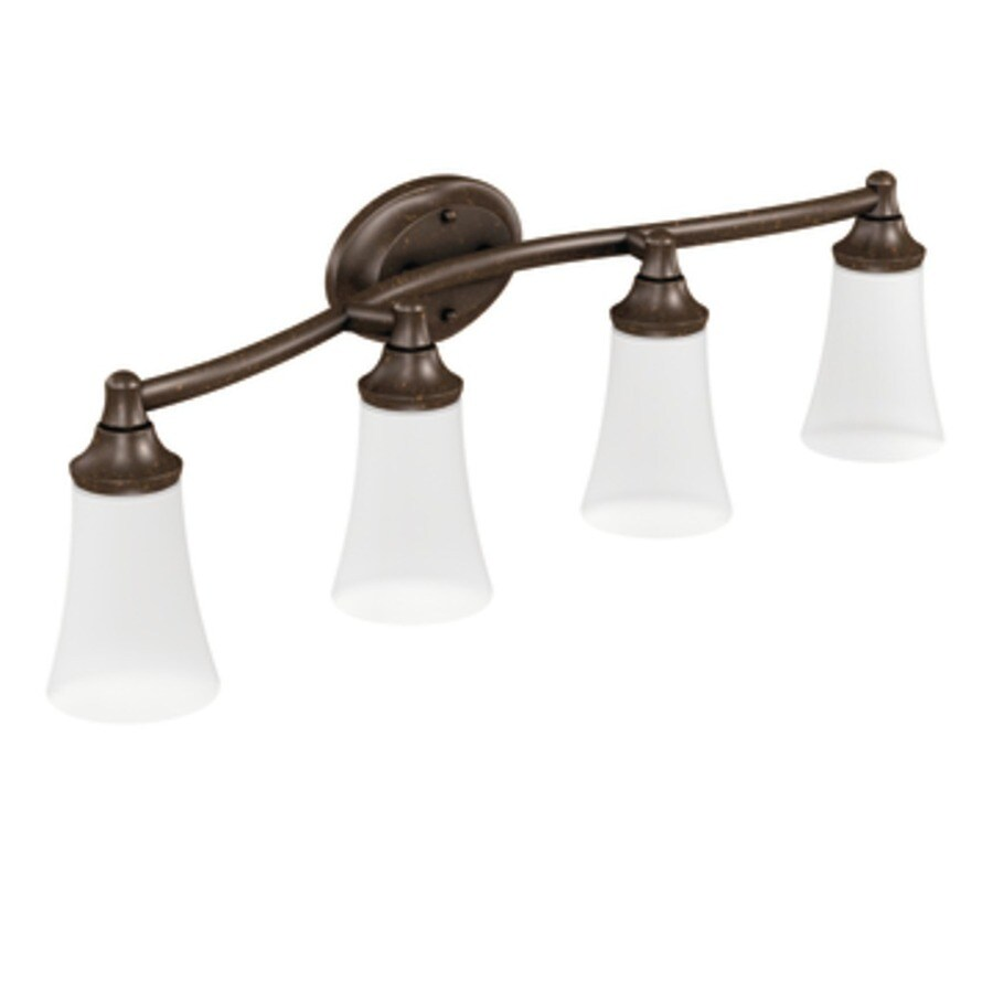 Moen Eva 4-Light 9.57-in Oil Rubbed Bronze Globe Vanity Light