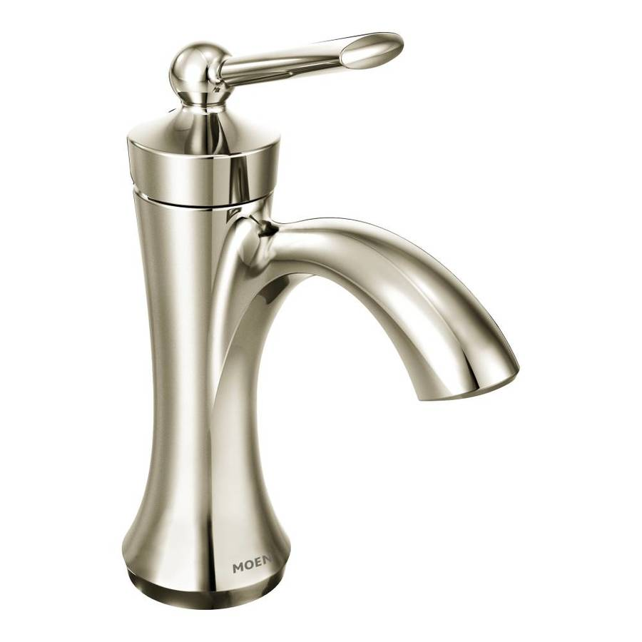 Moen Wynford Polished Nickel 1-Handle Single Hole/4-in Centerset WaterSense Bathroom Faucet