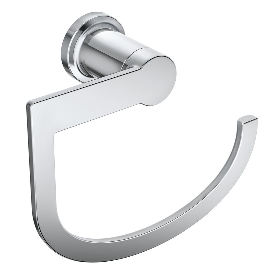 Moen Rinza Chrome Wall Mount Towel Ring In The Towel Rings Department At Lowes Com