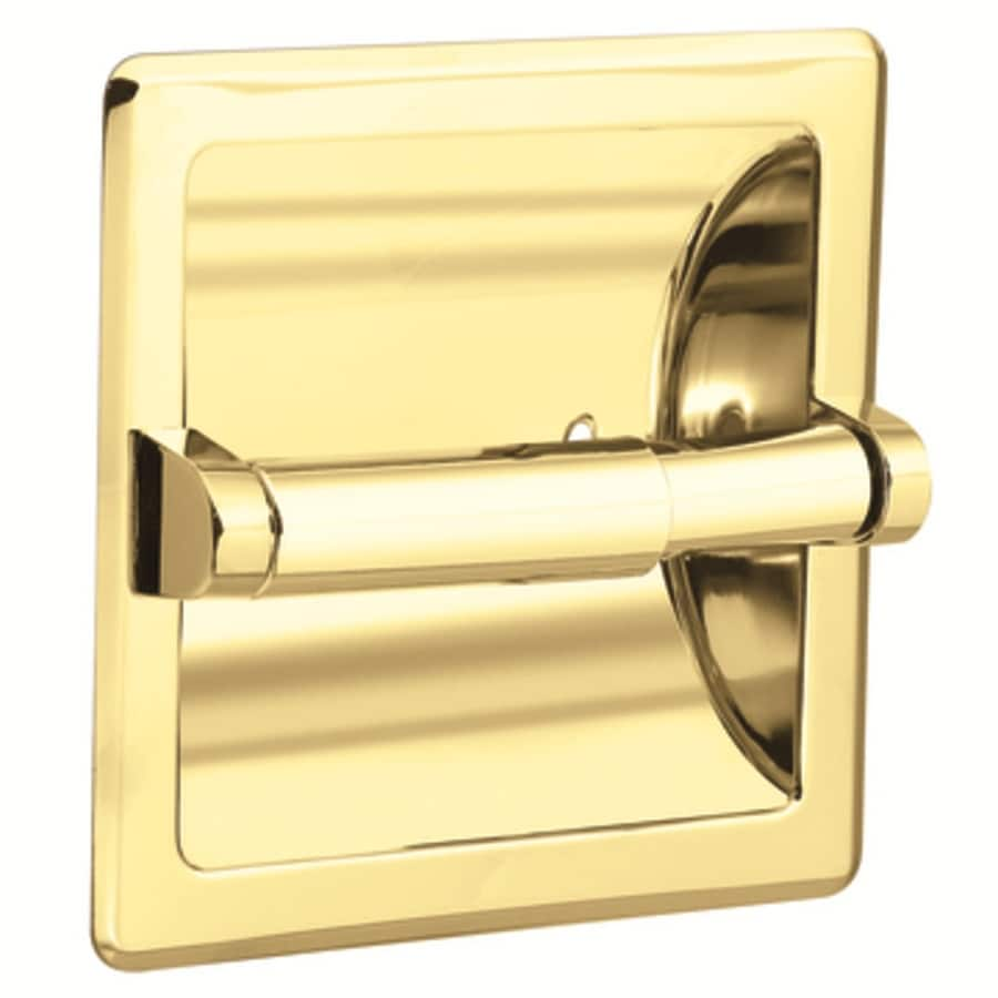 Shop Moen Contemporary Polished Brass Recessed Toilet Paper Holder At Lowes Com