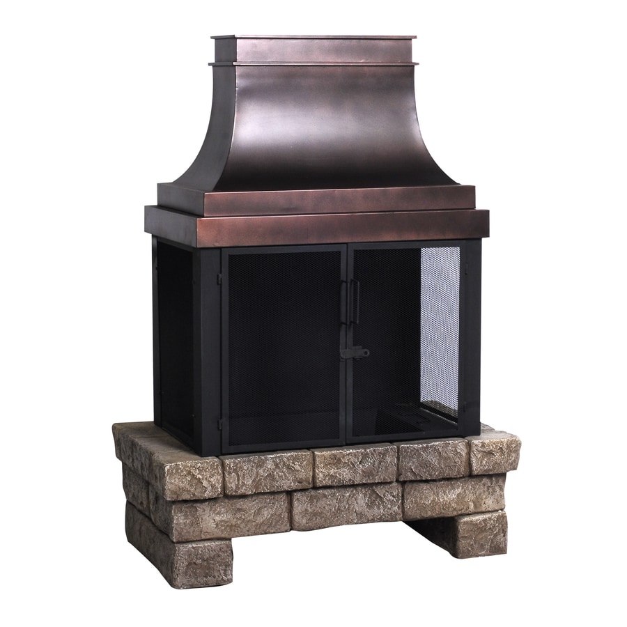 Shop allen + roth stone and bronze composite outdoor wood-burning fireplace at Lowes.com