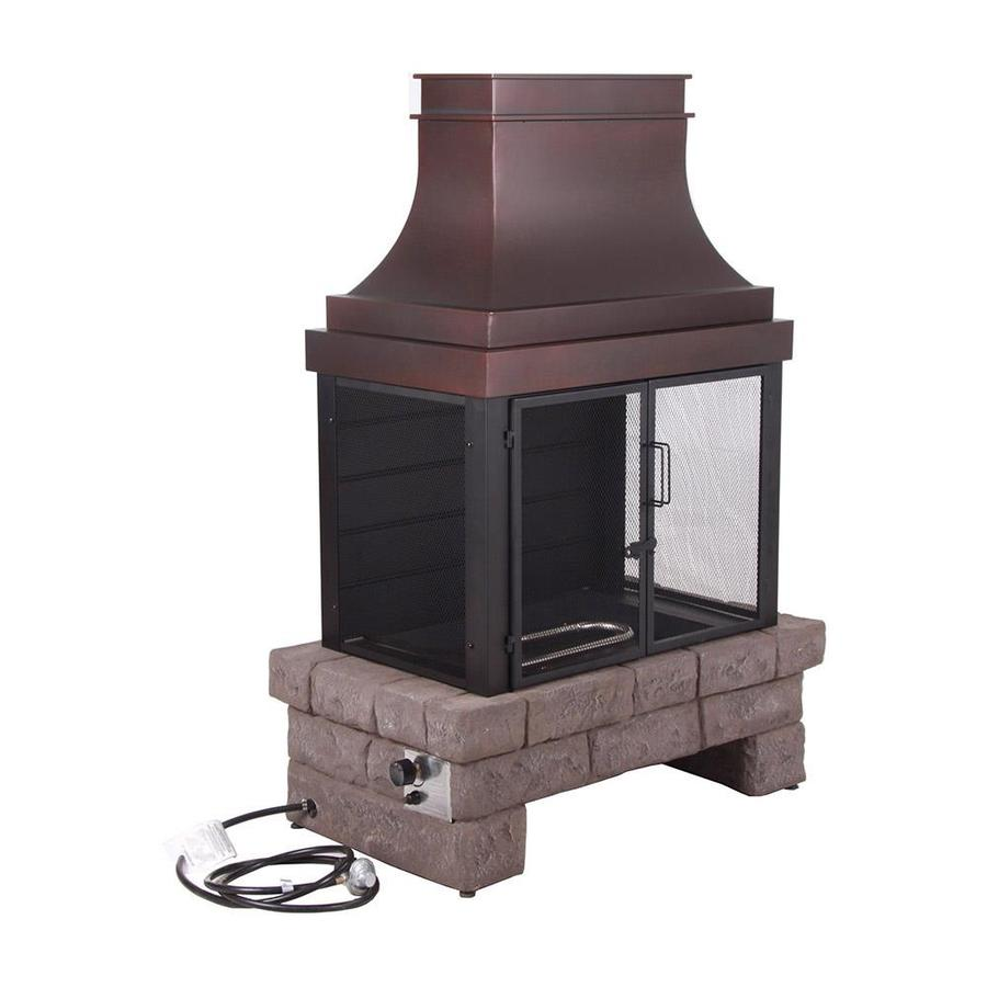 000-BTU Stone Composite Outdoor Liquid Propane Fireplace at Lowes.com