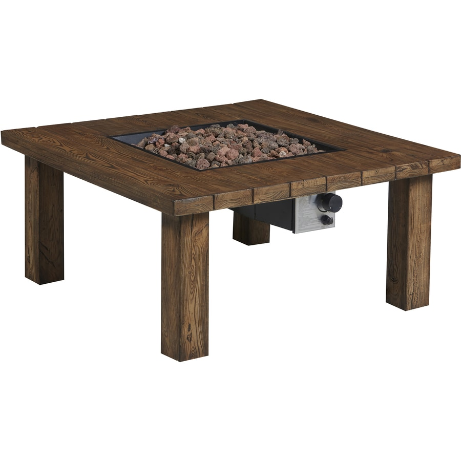 Garden Treasures 38-in W 50,000-BTU Brown Composite Propane Gas Fire Table