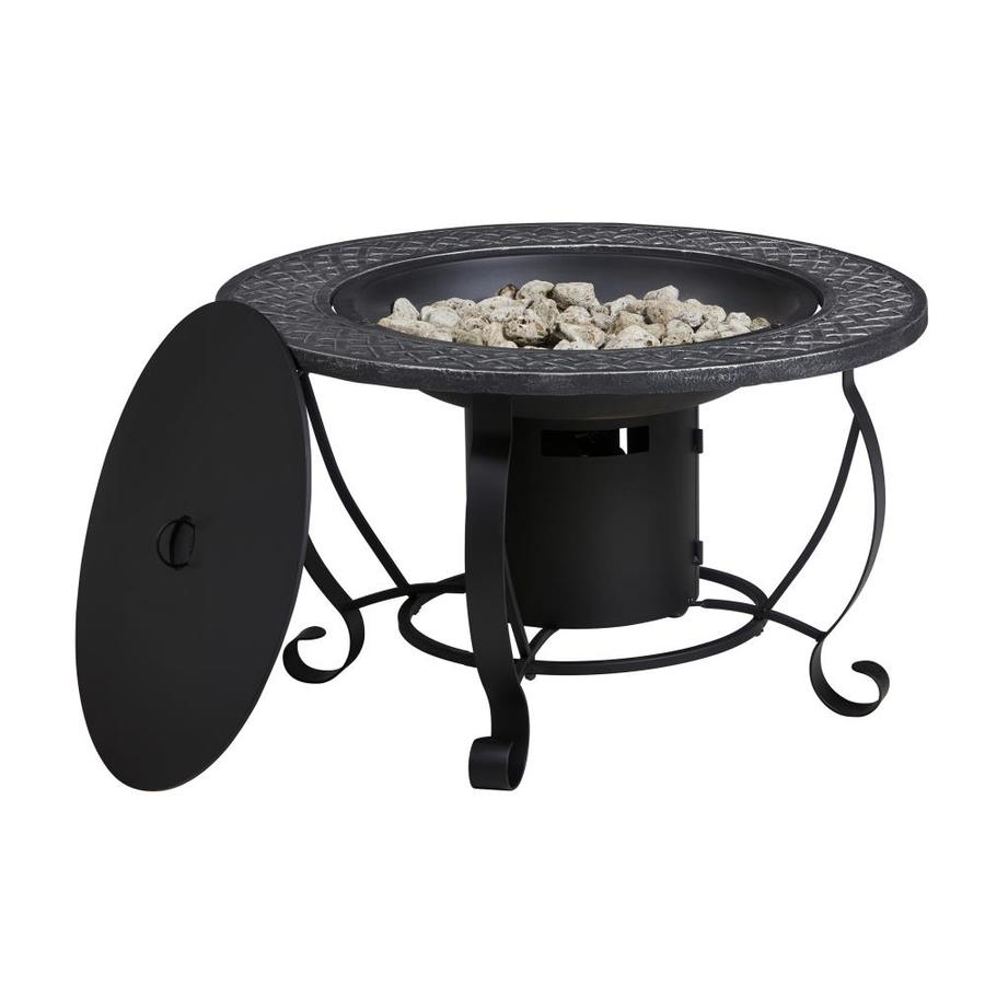 Superieur Garden Treasures 29 9 In W 20 000 Btu Black Steel Propane Gas. Outdoor Gas Fire  Pit ...