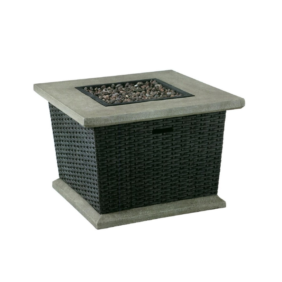 allen + roth Somersville 34.5-in W 30,000-BTU Brown Wicker Design Composite Propane Gas Fire Table