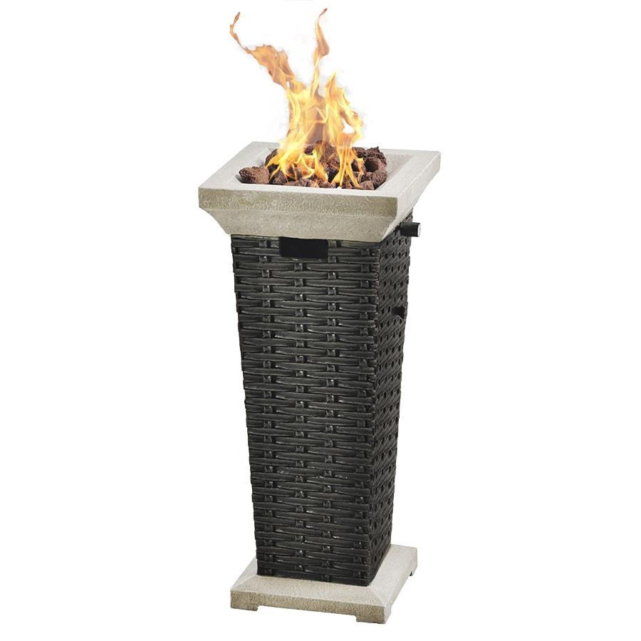 Bond Somersville 12.09-in W 15,000-BTU Wicker Look Composite Propane Gas Fire Column