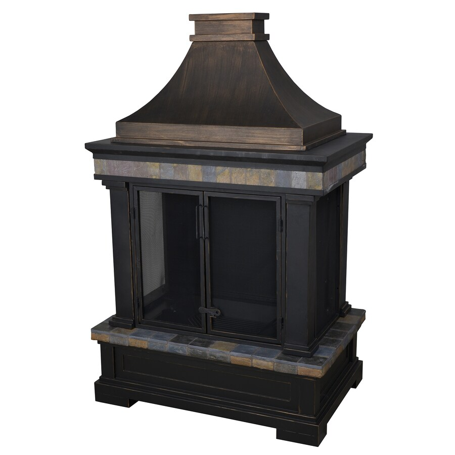 Shop allen + roth black and bronze with slate design composite outdoor wood-burning fireplace at Lowes.com