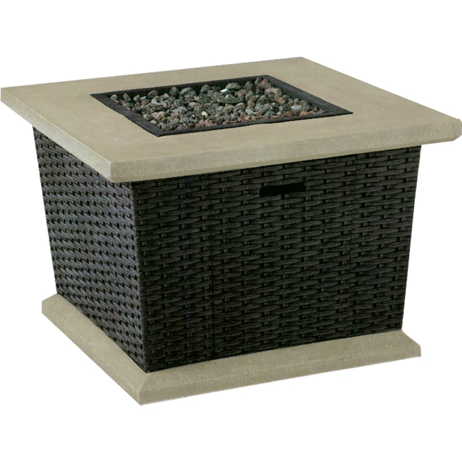 Shop Allen Roth Somersville In W BTU Brown Wicker - Resin wicker fire pit table