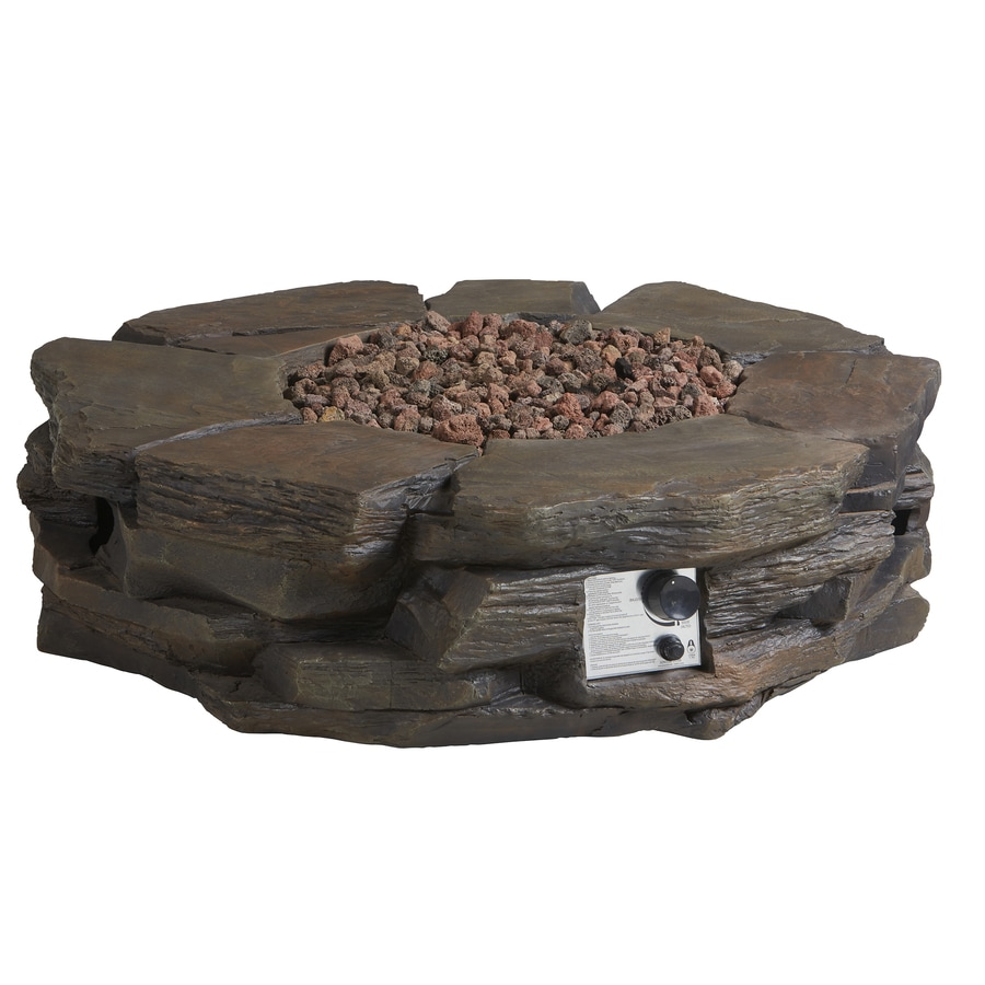 Garden Treasures 42 In W 50,000 BTU Brown Composite Propane Gas Fire Pit