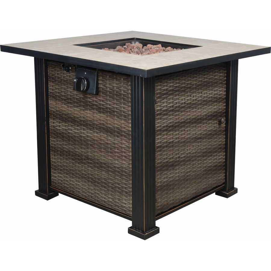 bond 30in w 50000btu black brown steel liquid propane fire table - Fire Tables