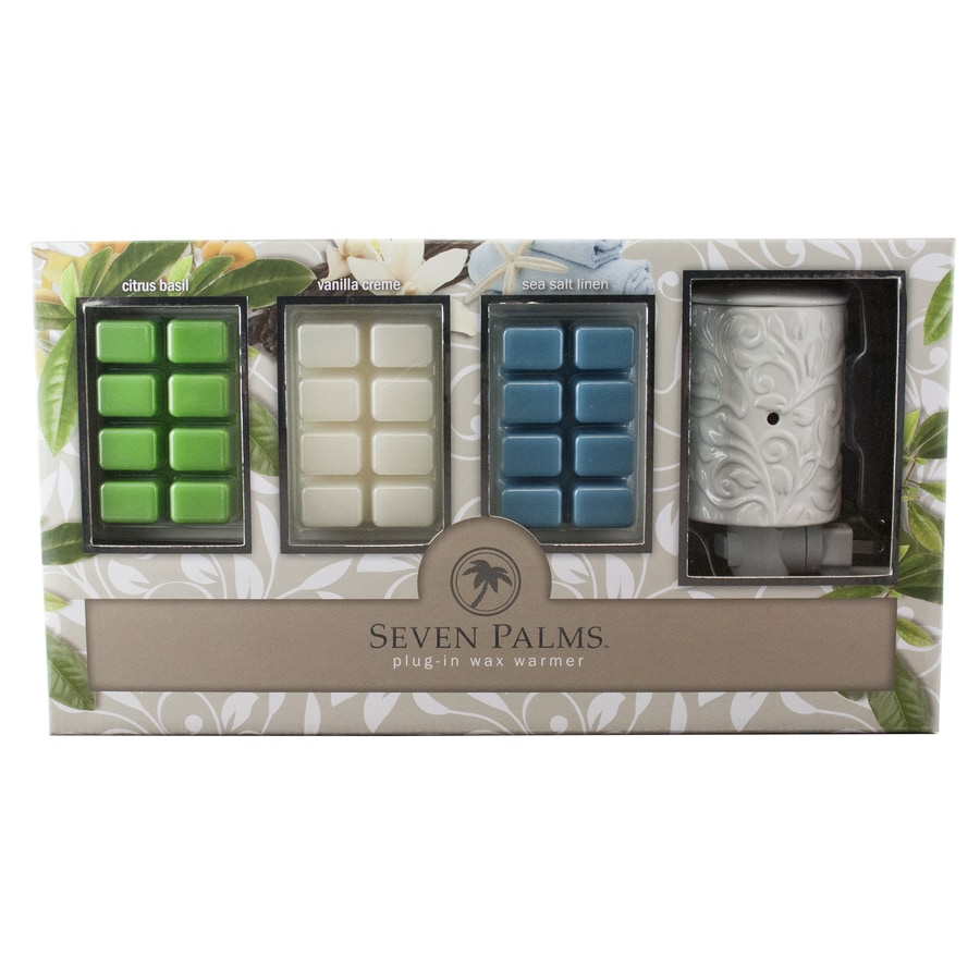 Seven Palms Citrus Basil, Vanilla Creme, Sea Salt Linen Plug-in Decorative Fragrance Warmer Kit