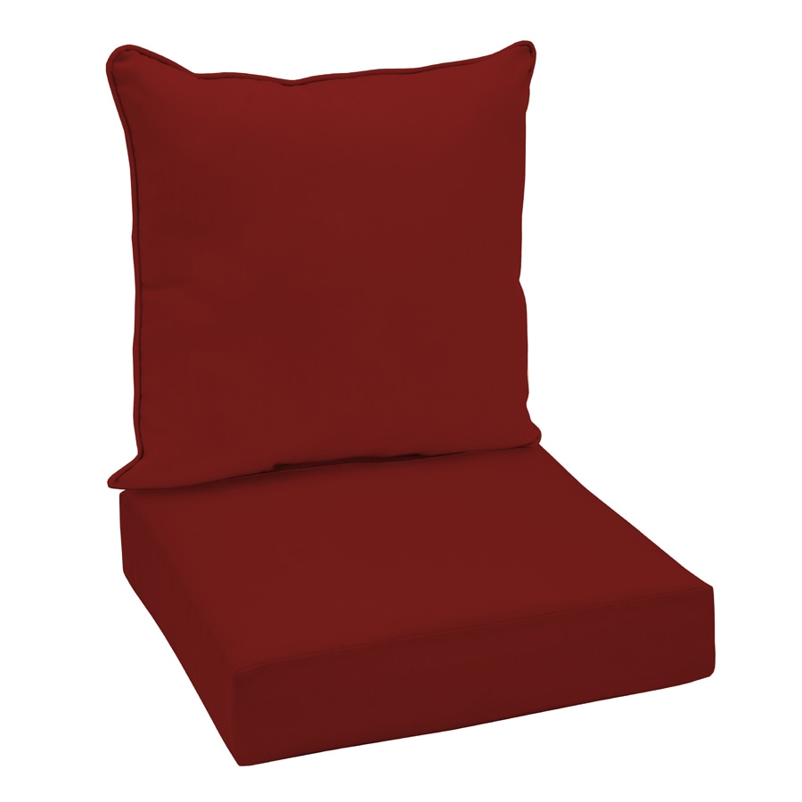 Garden Treasures Glenlee Solid Red Reversible UV-Protected Deep Seat Patio Chair Cushion